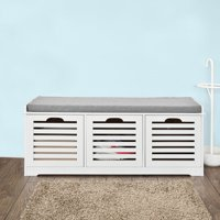Haotian Storage Bench with 3 Drawers & Seat Cushion, Shoe Cabinet Storage Unit Bench, FSR23-W