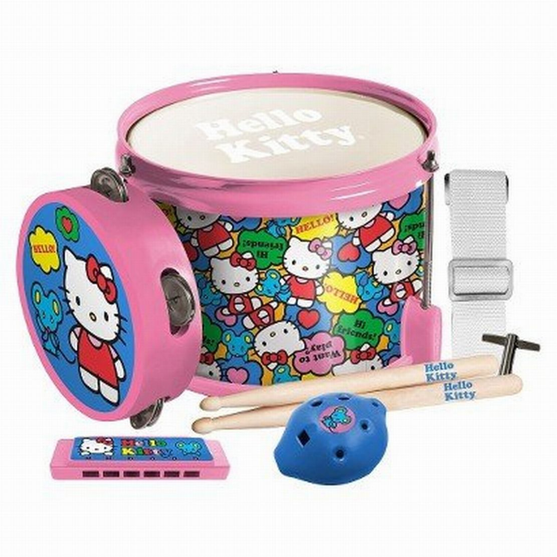 Hello Kitty Fun In A Drum First Act Musical Instrument Set Harmonica Tambourine