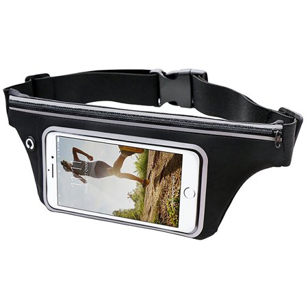 Exercise Fanny Pack   Black  Sports Activity Waist Pack Pocket Belt W  Clear Touch Window For Access To Your Device