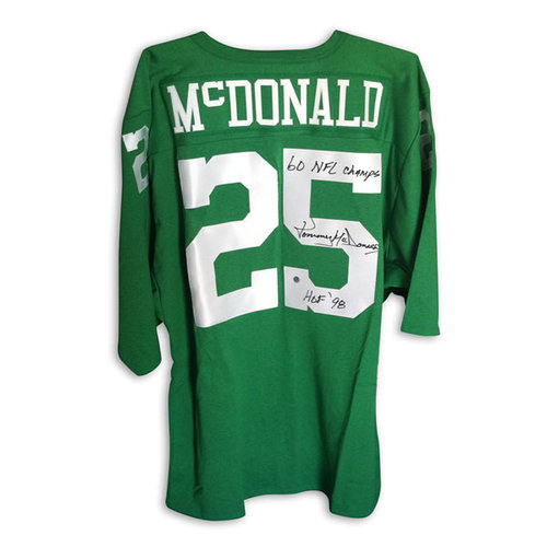"""NFL - Tommy McDonald Philadelphia Eagles Autographed Green Throwback Jersey Inscribed """"HOF 98"""" and """"1960 NFL Champs"""""""