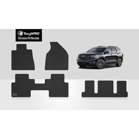 ToughPRO - GMC Acadia Denali Front, 2nd & 3rd Row Mats - All Weather - Heavy Duty - Black Rubber - 2012 (2nd Row Bucket Seating)