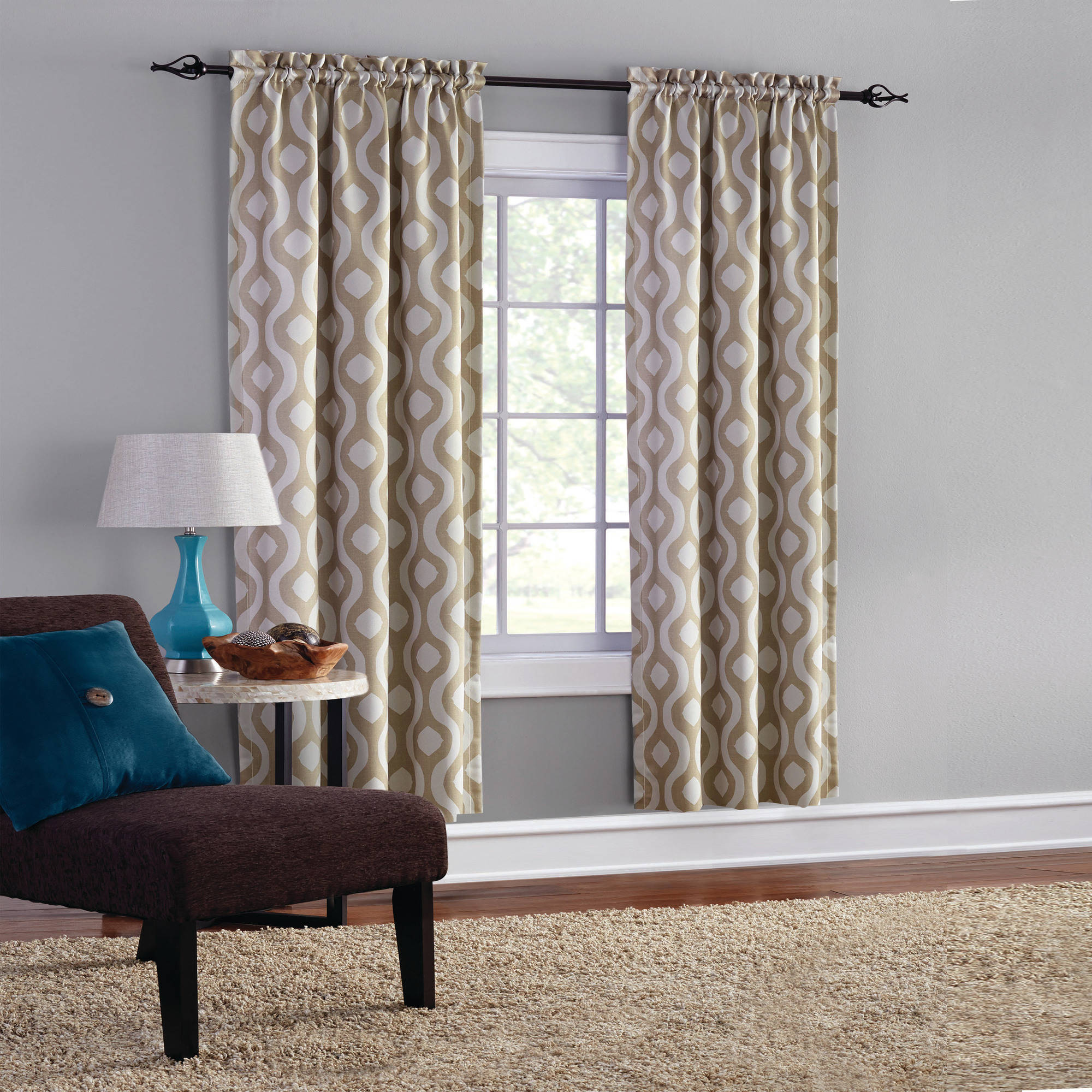 Mainstays Blackout Print Woven Window Curtains, Set of 2 by Keeco LLC