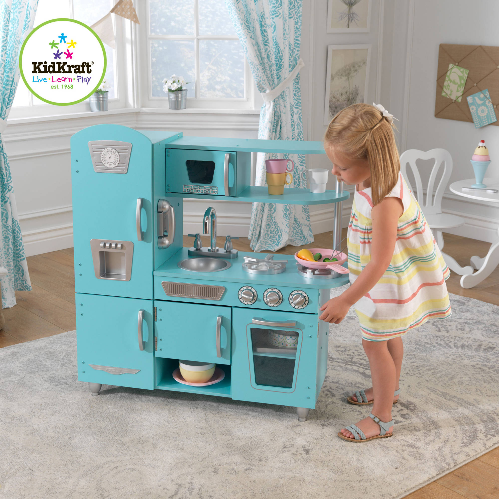 KidKraft Vintage Wooden Play Kitchen Set, Blue