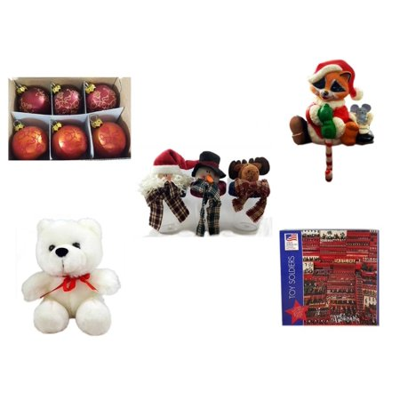 "Christmas Fun Gift Bundle [5 Piece] - Set of 6 Mini Glass Ball Ornaments 1.5"" - Raccoon Santa Small Stocking Hanger - Set of 3 Containers With   Character Lids - Soft & Cuddly White Teddy Bear  6"""