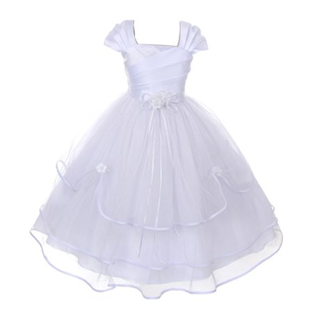 Girls White Floral Accent Pleated Triple Layer Communion Dress