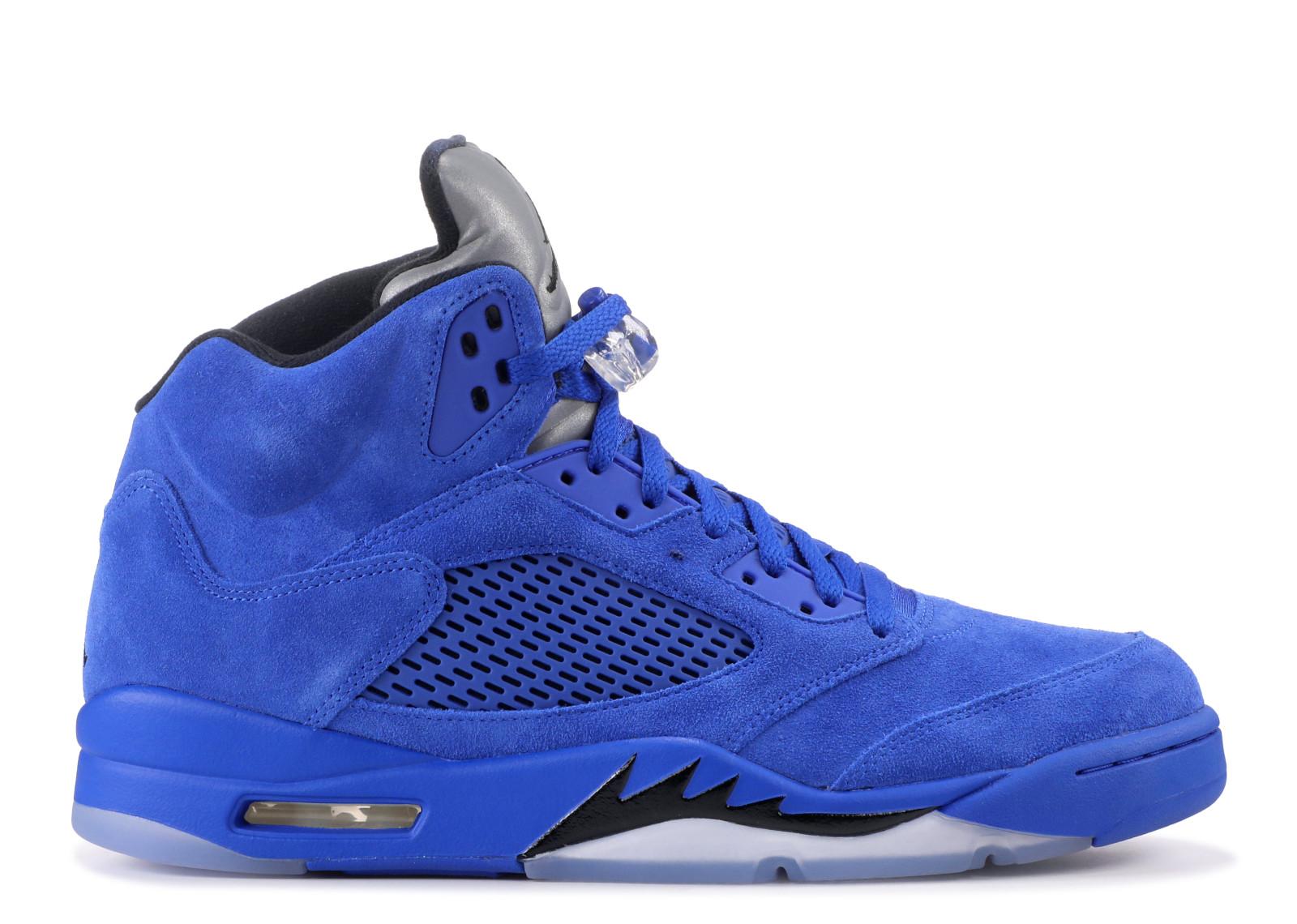 Mens Air Jordan 5 V Retro Blue Suede