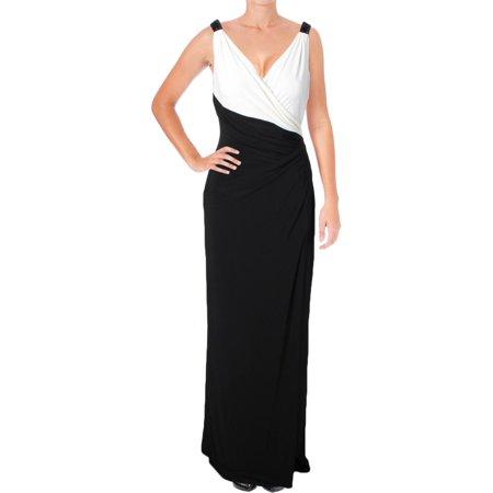 Lauren Ralph Lauren Womens Two Tone Surplice Evening Dress