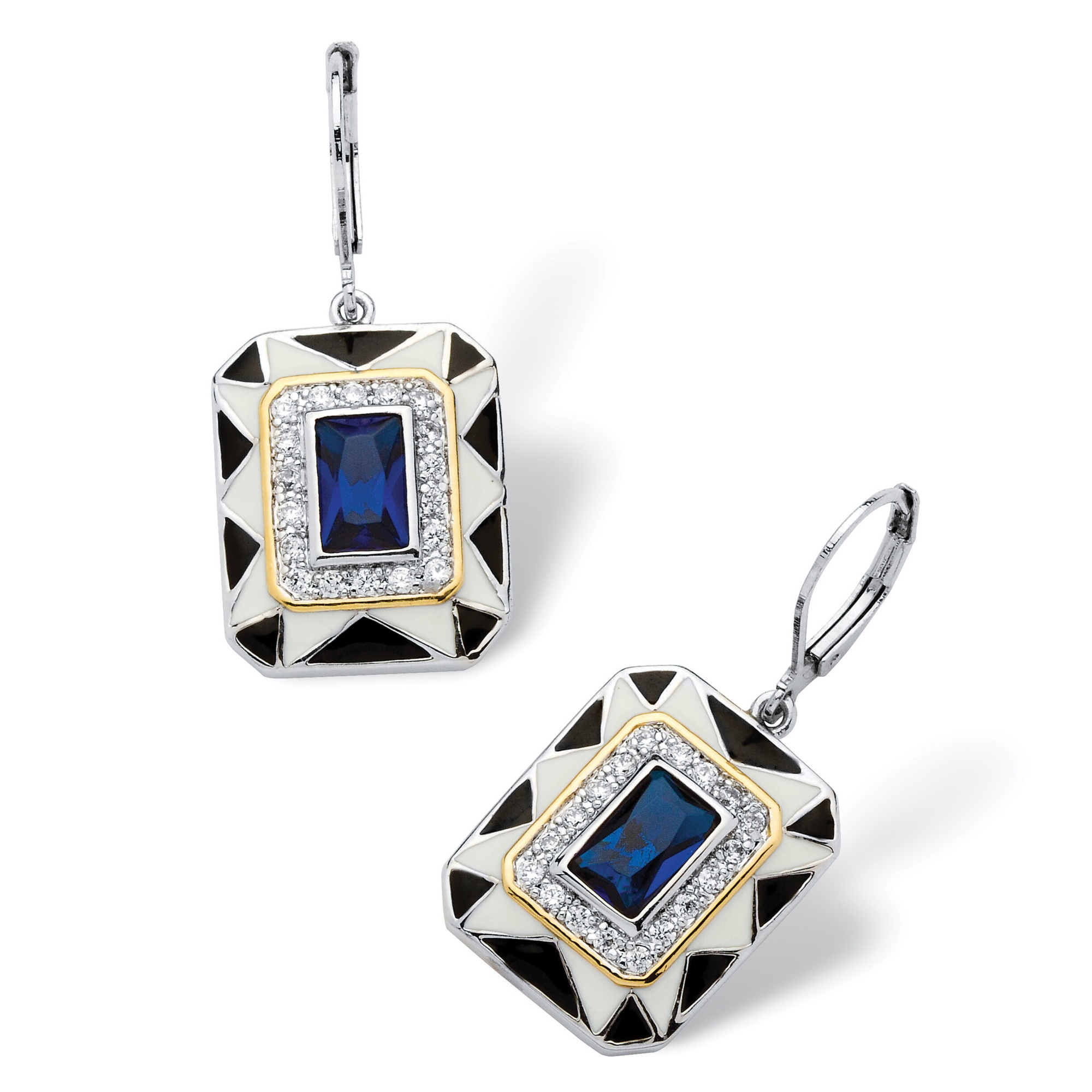 .76 TCW Emerald-Cut Blue Crystal Art Deco Style Earrings in Silvertone