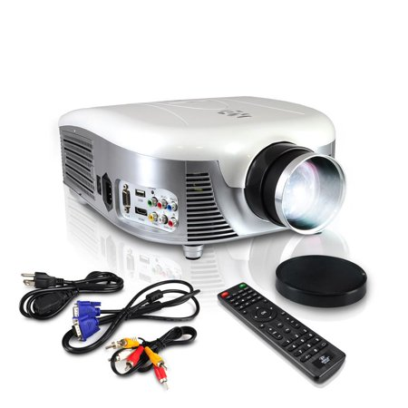 PYLE PRJD907 - Widescreen Digital Multi-Media LED Projector, 1080p Support, Up to 140'' Viewing Screen, USB Reader, Digital Screen Size Adjustable, Built-in - 140 Media