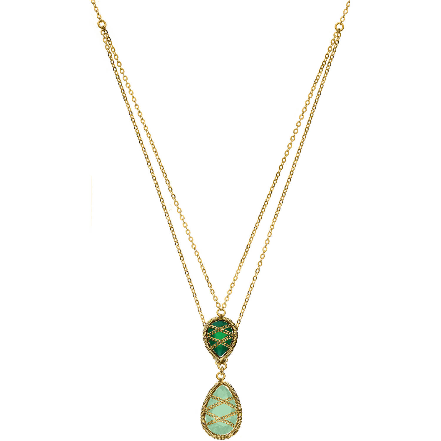 Image of 5th & Main 18kt Gold over Sterling Silver Hand-Wrapped Double Chain Chalcedony and Peridot Stone Pendant Necklace