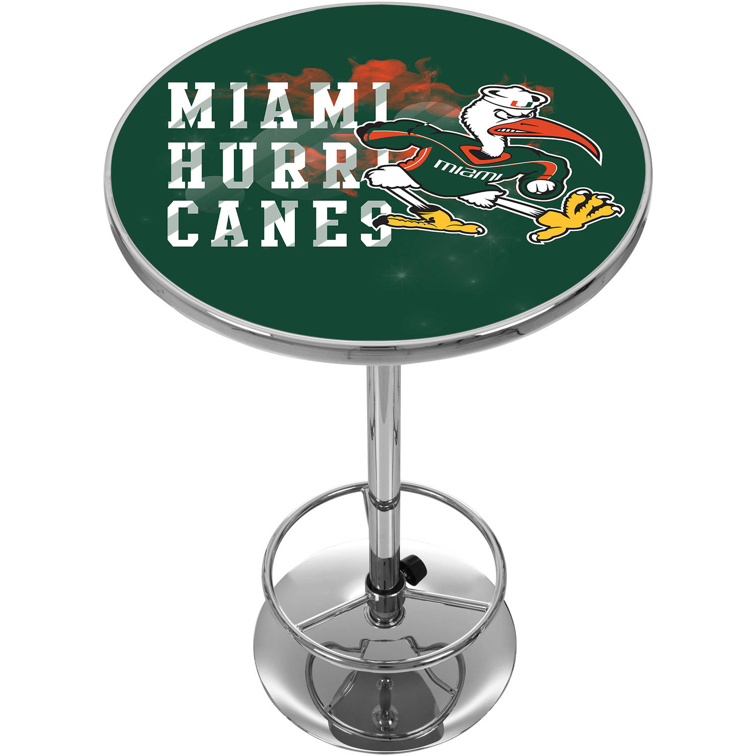 University of Miami Chrome Pub Table, Smoke