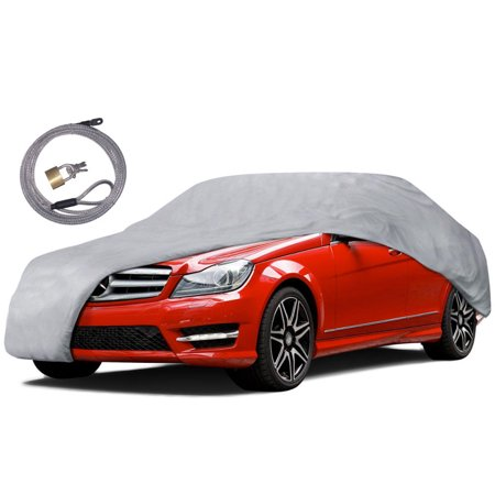 Motor Trend Auto Armor All Weather Proof Universal Fit Car Cover - UV, Water Proof (Gray) (Fits up to 170