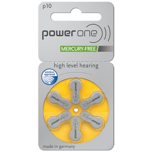 PowerOne Mercury Free Hearing Aid Batteries Size 10 - Pack of 60 + Free Battery Caddy