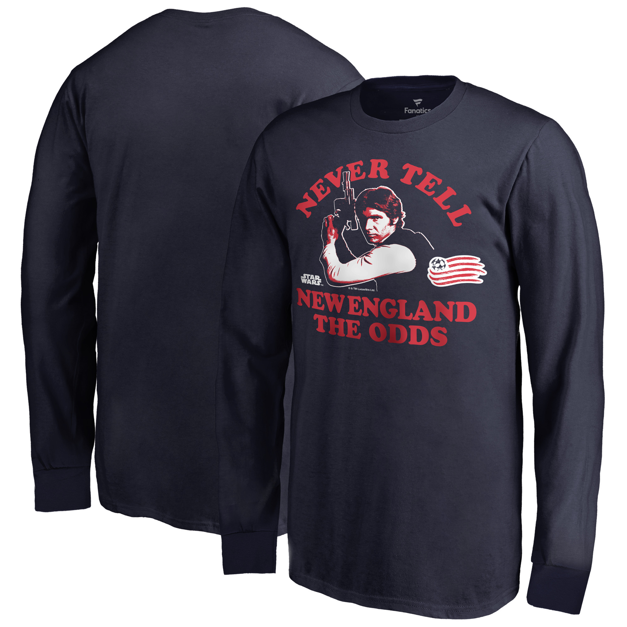 New England Revolution Fanatics Branded Youth Star Wars Never Tell the Odds Long Sleeve T-Shirt - Navy
