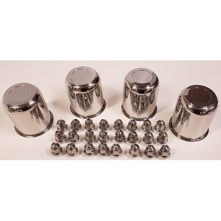 Trailer Wheel Center Caps - 4 Trailer Wheel Lug and Cap Sets - Stainless Hub Cover 6 SS Lugs 3.75in. Center