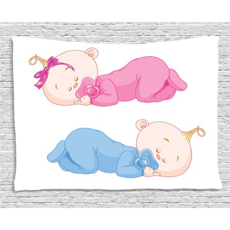 Sister Tapestry - Baby Tapestry, Two Charming Little Twin Siblings Brother and Sister Sleeping in Pajamas Toddler, Wall Hanging for Bedroom Living Room Dorm Decor, 60W X 40L Inches, Pink Blue Tan, by Ambesonne