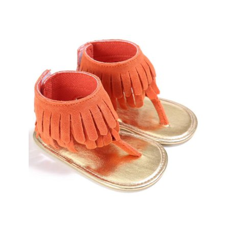 Babula Baby Girl Tassel Sandal Summer Anti-slip Flip Flop Shoes 0-18M