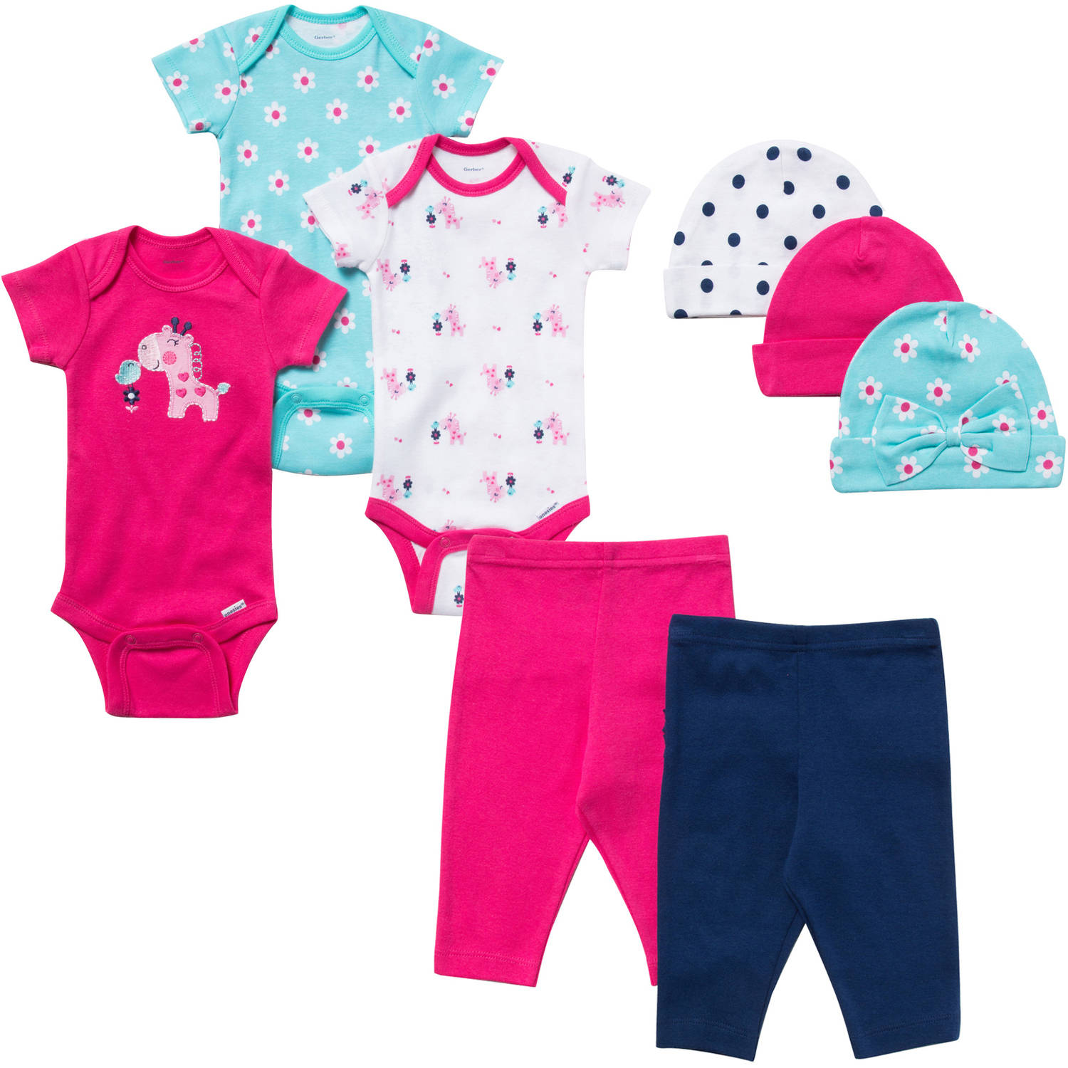 Gerber Newborn Baby Girl 8 Pc Layette Gift Set 0-3M