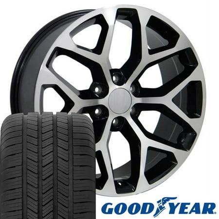 20x9 Wheels & Tires Fit GMC Chevy Trucks - GMC Sierra Style Rims - Black w/Mach'd Face, Hollander 5668 - (2011 Chevy Silverado 20 Inch Tire Size)