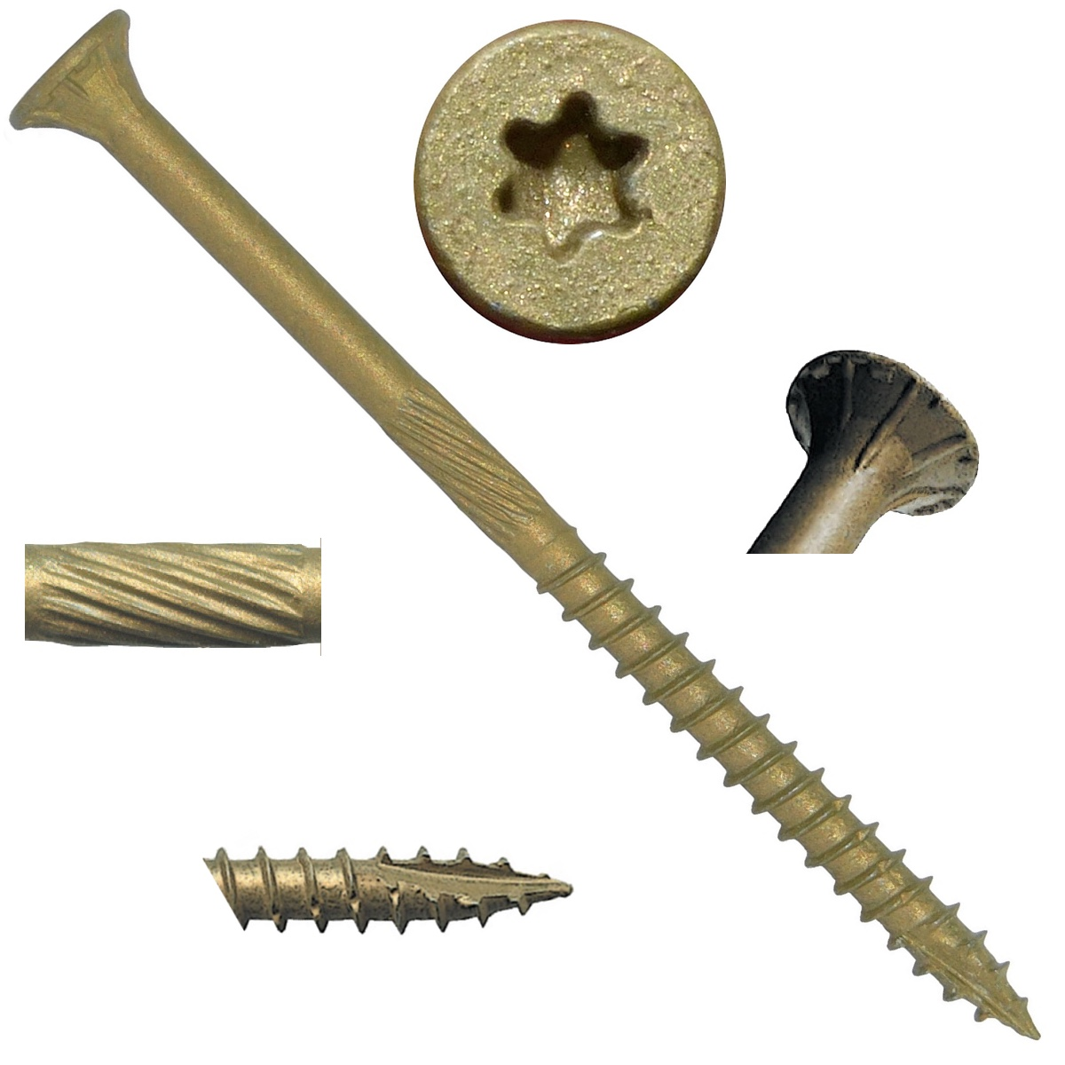 "#9 x 3"" Bronze Star Exterior Coated Wood Screw Torx/Star Drive Head (1 POUND - 79 Approx. Screw Count) - Multipurpose Exterior Coated Torx/Star Drive Wood Screws"