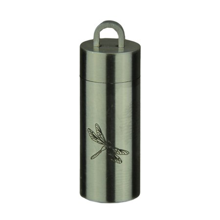 Stainless Steel Black Dragonfly Cylinder Stash Pendant Pill Case -
