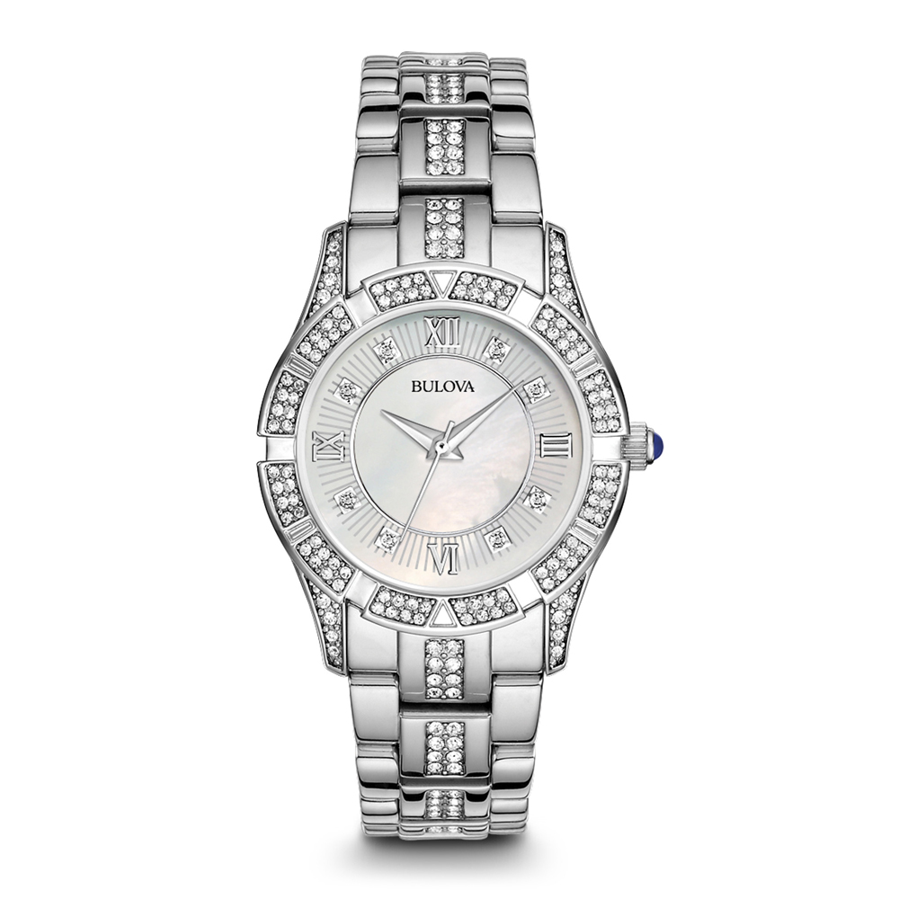 Bulova 96L116 Womens Stainless Steel Crystal Watch