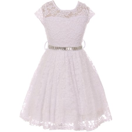 Little Girl Cap Sleeve Lace Skater Stone Belt Flower Girls Dresses (19JK88S) White 2](Little Girls White Dresses)