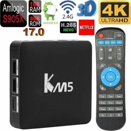Ott Km5 Pro Android 6 0 Smart Tv Box  Amlogic S905x 1Gb 8Gb Quad Core 4K 3D Player Uhd Hdr Hlg H 265 Tv Box Dual Band 2 4G Wifi Bluetooth 4 0 Full Hd Media Player