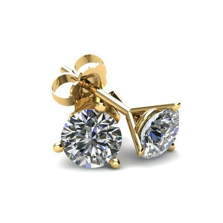.85Ct Round Brilliant Cut Natural Diamond Stud Earrings in 14K Gold Martini Setting