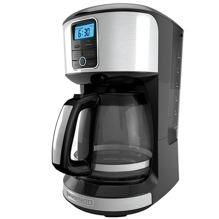 BLACK+DECKER 12-Cup* Automatic Programmable Coffeemaker, Black/Stainless Steel,