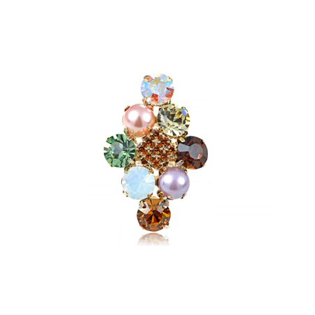 Faux Pearl Rhinestone Ring - Golden Tone Cluster of Stones w Faux Pearl Rhinestone Trendy Adj Fashion Ring