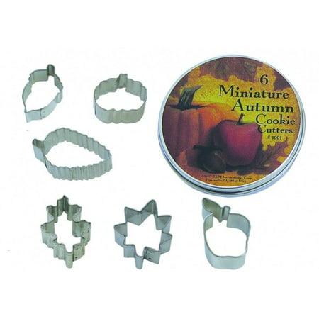 Gift Set Cakes - Mini Autumn Leaf Cookie Cutter Set - Acorn, Pumpkin, Oak, Maple, Aspen, Apple, 6 Piece Set in Gift Tin - 1991 - National Cake Supply