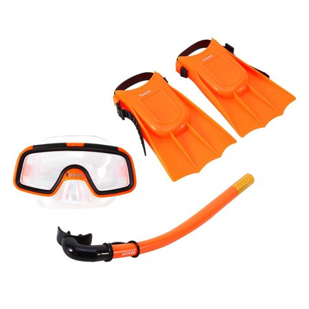 Kids Fins (Qiilu Kids Snorkeling Mask Snorkel Set with Snorkel Scuba Eyeglasses and Mask Snorkel Swimming Diving Silicone Fins for Kids Youth Junior Orange Grear Gift for Children)