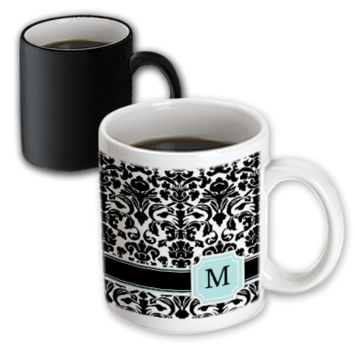 3dRose Letter M personal monogrammed mint blue black and white damask pattern - classy personalized initial, Magic Transforming Mug, 11oz