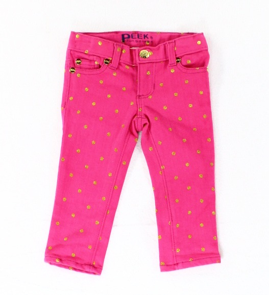 Peek NEW Pink Gold Polka Dot Girl's Size Medium M  Colored Denim Jeans