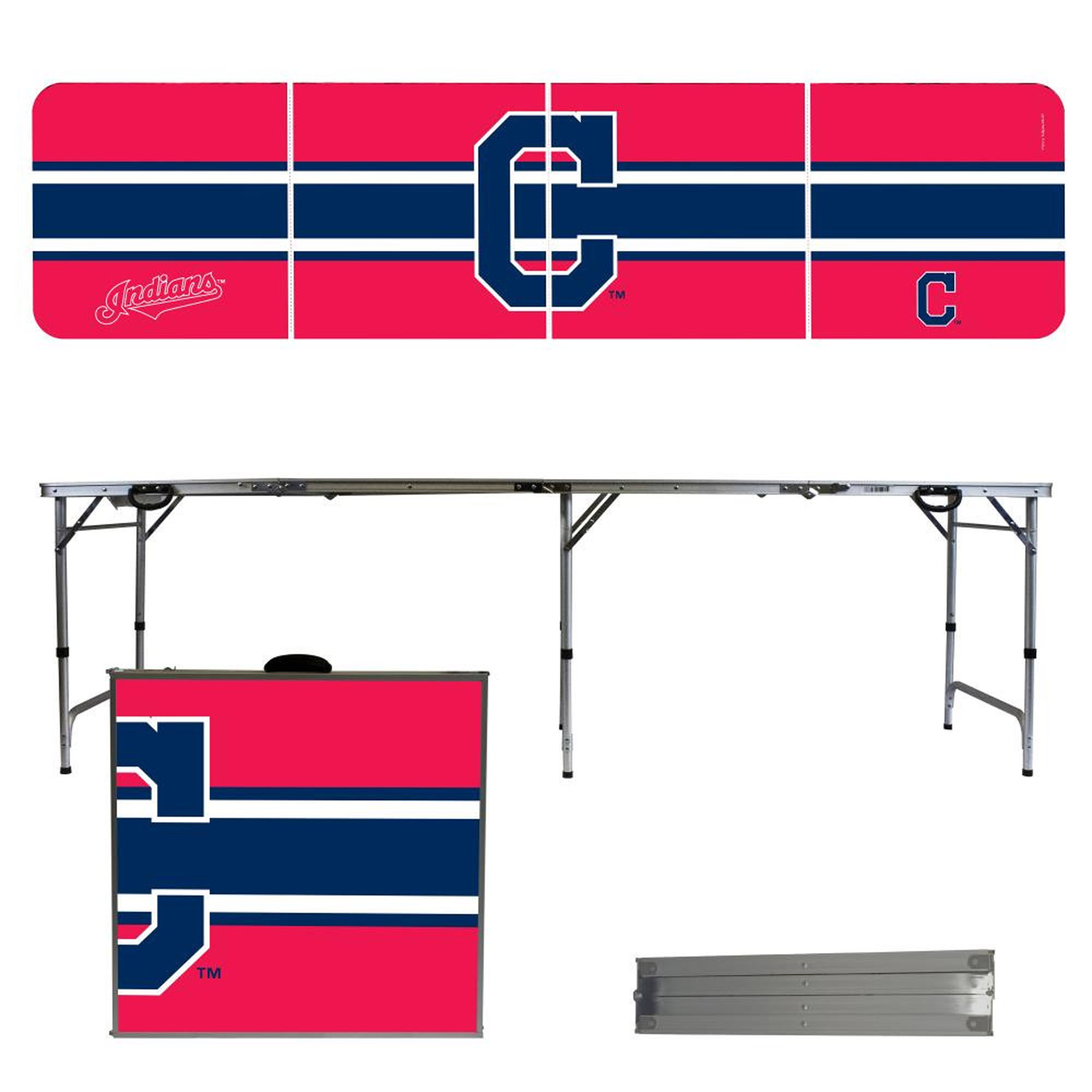 Cleveland Indians Striped Design 8' Portable Folding Tailgate Table - No Size