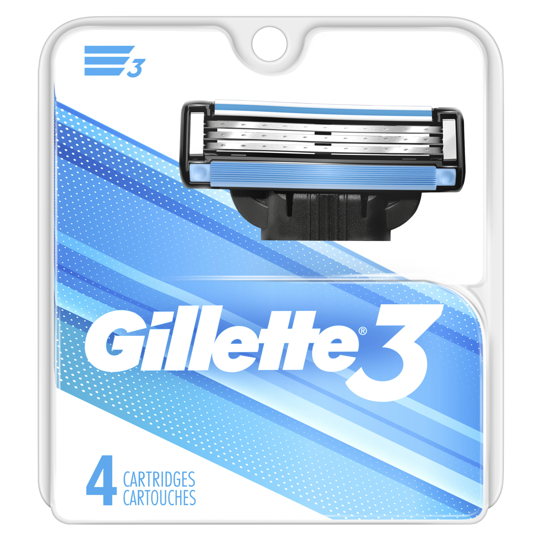 Gillette 3 Blade Men's Razor Blade Refills - 4ct