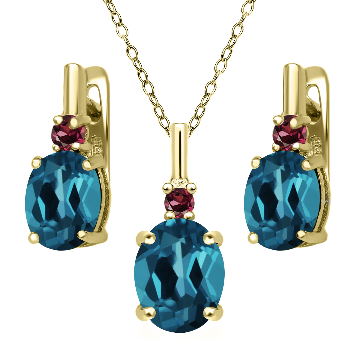 London Topaz Rhodolite Garnet 18K Yellow Gold Plated Silver Pendant Earrings Set by