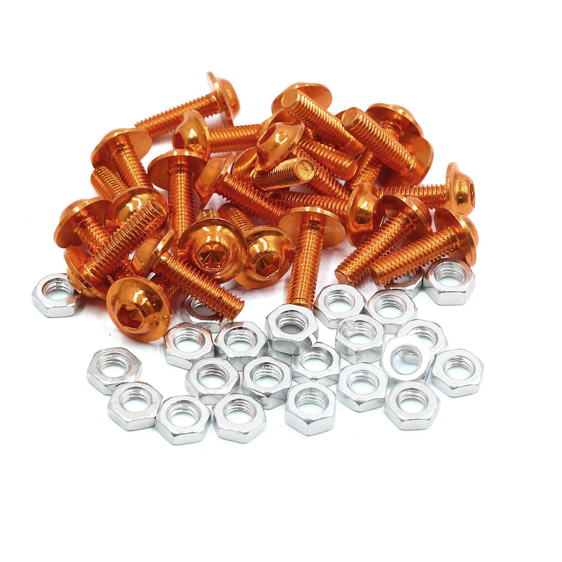 25pcs M6 Orange Aluminum Alloy Hex Socket Head Motorcycle Bolts Screws Nuts