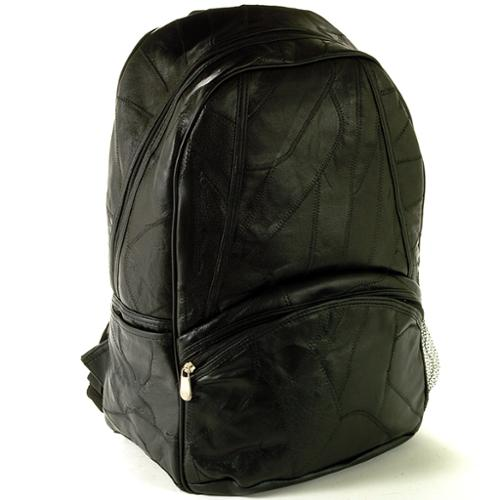 """Laptop Backpack Patchwork Leather 15"""" Computer Case Travel Organizer Book Bag Black One Size"""