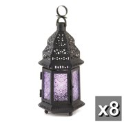 GHP Set of 8 Lavender Black Frame Iron & Glass Moroccan Style Exotic Metal Candle Lantern