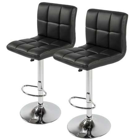 BCP Set of 2 PU Leather Adjustable Bar Stools Counter Swivel Barstool Pub  black - BCP Set Of 2 PU Leather Adjustable Bar Stools Counter Swivel