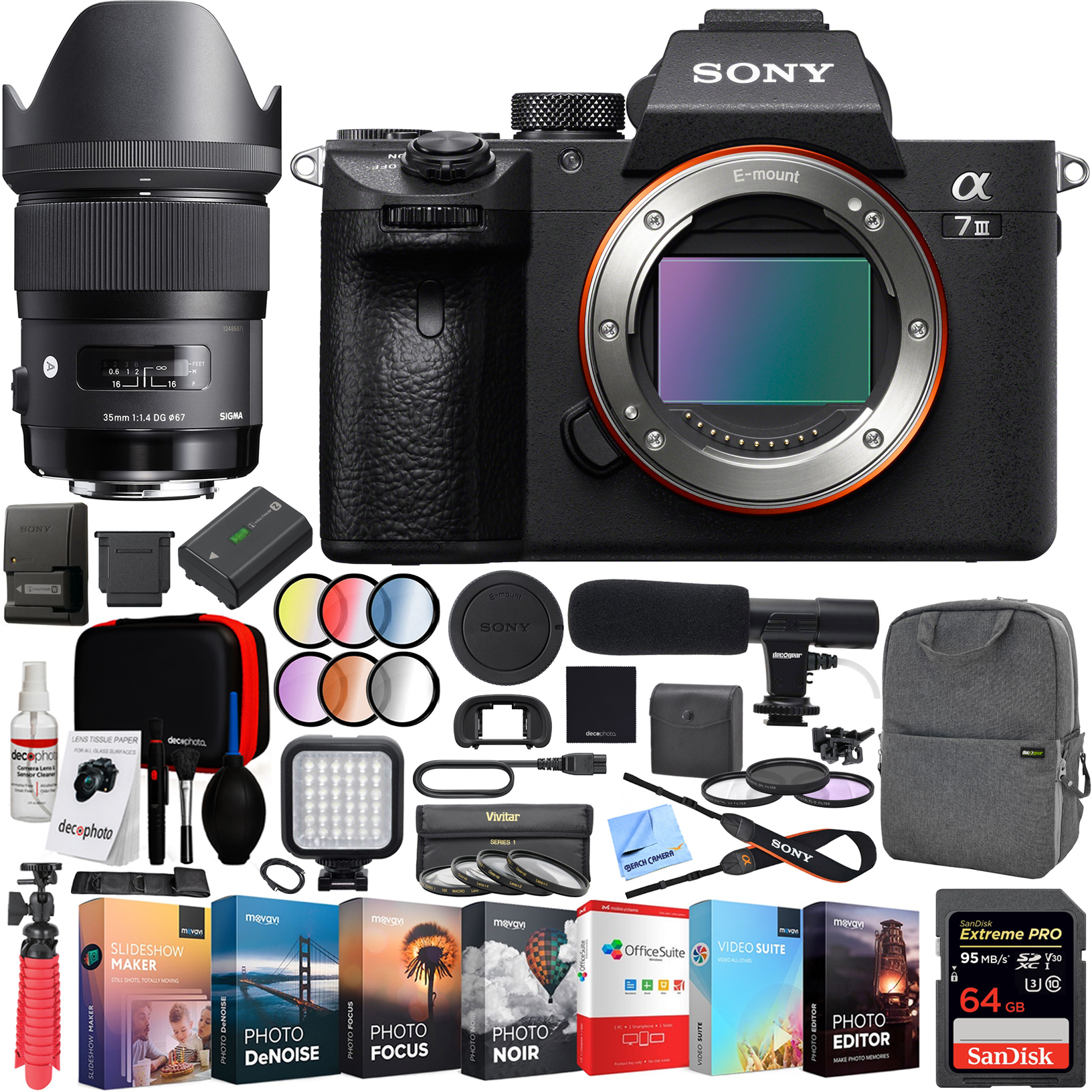 Sony a7 III Full Frame Mirrorless Interchangeable Lens 4K HDR Camera ILCE-7M3 Body with Sigma 35mm F1.4 ART DG HSM E-mount Lens and Deco Gear Backpack Kit Microphone Editing Bundle