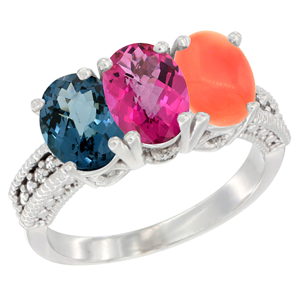 14K White Gold Natural London Blue Topaz, Pink Topaz & Coral Ring 3-Stone 7x5 mm Oval Diamond Accent, sizes 5 10 by WorldJewels