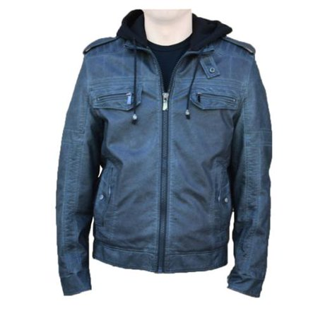 RNZ Premium Designer Men's Faux Leather Jacket - M8-Grey-M