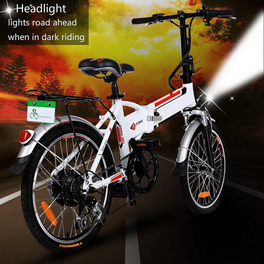 Clearance !Hascon 19'' Electric Folding Bike 7-Speed Mountain Bicycle,White HITC