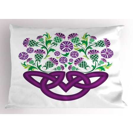 Thistle Pillow Sham Celtic Knot and Thistle Plant in Basket Form with Flowers, Decorative Standard Size Printed Pillowcase, 26 X 20 Inches, Shamrock Green Violet ans Purple, by