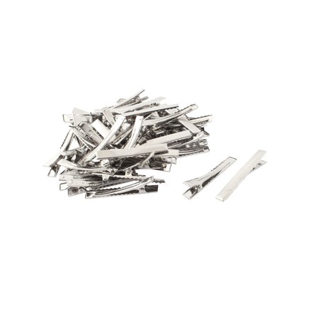 Unique Bargains Women 5.5cm Long Metal DIY Craft Alligator Hair Clip Barrette Silver Tone 50pcs - Diy Halloween Hair Clips