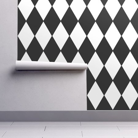 Wallpaper Roll Harlequin Diamond Black White B&W Geometric Check 24in x 27ft