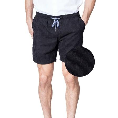 d05bb2c754 Mens Elastic Waist Corduroy Shorts Drawstring Tie 6 Inch Casual Black  Walkshort (Medium, Black) - Walmart.com